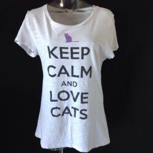Aeropostale Keep Calm and Love 💕 Cats 🐱 Tee XL